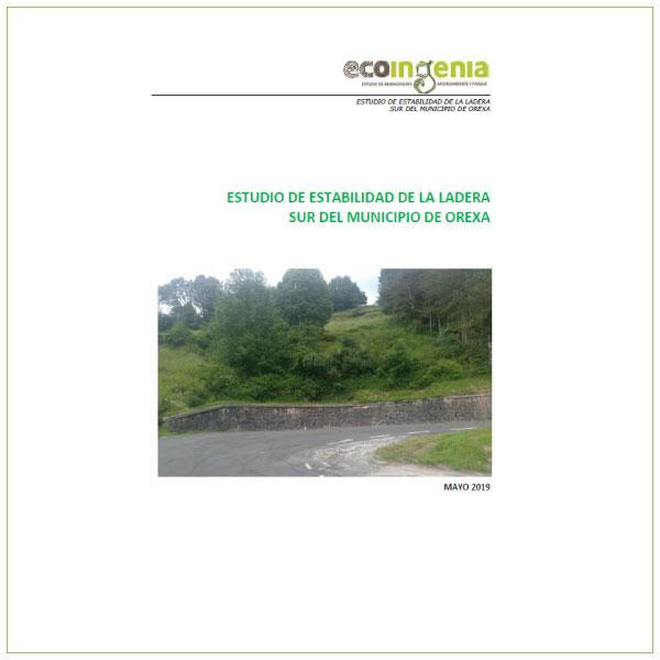 Estudio de estabilidad de la ladera sur del municipio de Orexa (Gipuzkoa).