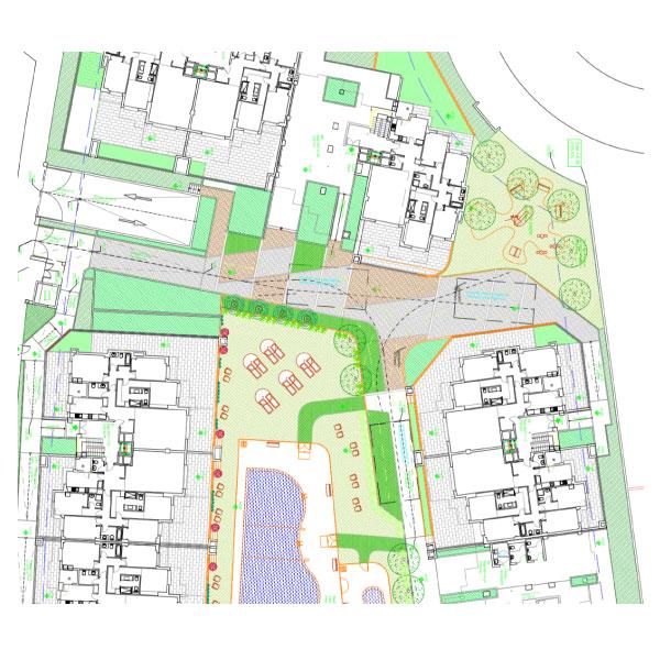 """Proyecto de paisaje de la nueva urbanización de 43 viviendas """"RM10"""" en Boadilla del Monte."""